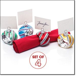 Christmas Ornament Napkin Ring   Place card Holder Set