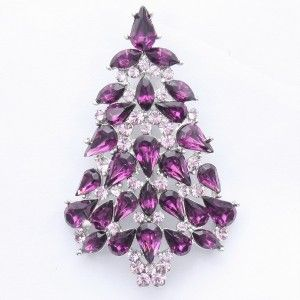 Purple Christmas Tree Brooch Pin w Swarovski Crystals