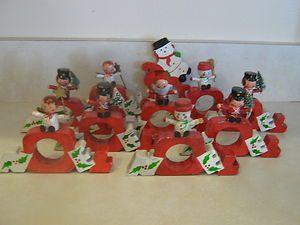 10 Vintage Vera Wooden Christmas Napkin Rings Holders Orig Vera Labels