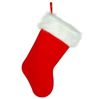 Christmas Stocking Red Plush Fur with Plush White Trim