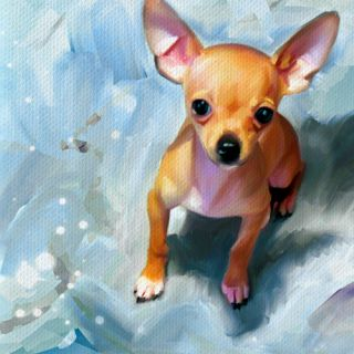Chihuahua Dog Pet Original Art Painting Canvas Giclee Print