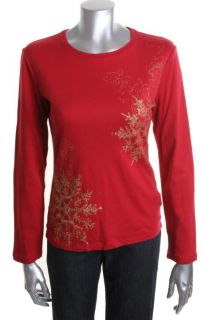 Jones New York New Red Metallic Long Sleeve Crew Neck T Shirt L BHFO