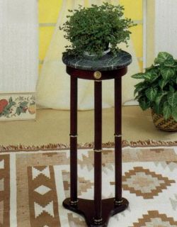 Cherry Finish Plant Stand Accent Table w Green Marble