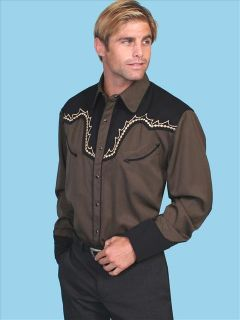 Scully Mens Western Fancy Brown & Black Vintage Embroidered Snap Shirt