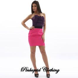 Pink Purple Corset Pencil Womens Ladies Cocktail Dress