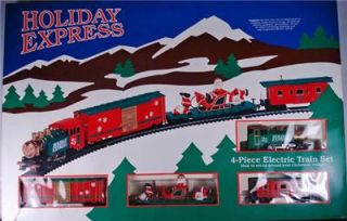 Christmas Holiday Express 4 Piece Electric Train Set HO Scale with