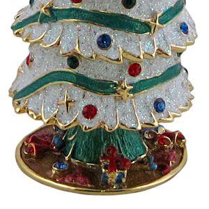 Christmas Tree Trinket Box Snow Covered Bejeweled Holiday Keepsake