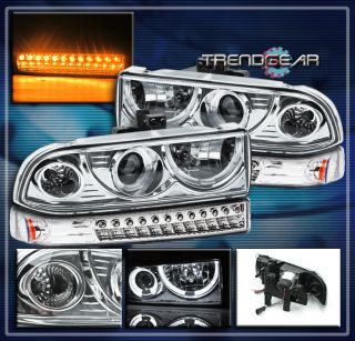 98 04 Chevy Blazer S10 Pickup Halo Projector Headlight LED Bumper 99
