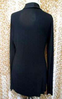 Bailey 44 Black Silk Trim Super Soft Open Front Cardigan Shirt Blouse