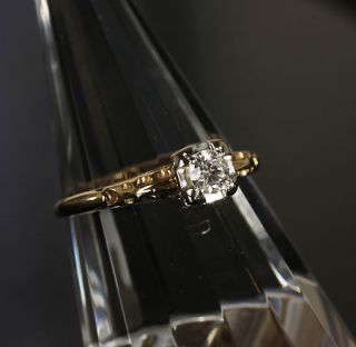 Jewelry Solid 14k Yellow Gold Antique Diamond Engagement Solitaire