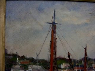 Oil Painting of Boat on Dock w Workers Wood Frame Signed Civale