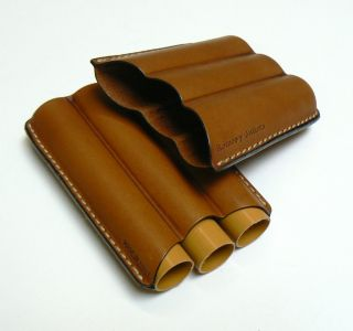 Cigar Case Romeo Y Julieta Leather 3 Flute Robusto Tan