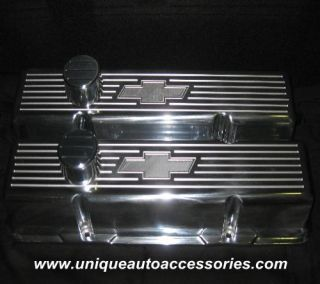 New SBC Tall Chevy Bowtie Polished Aluminum Valve Covers Clear Roller