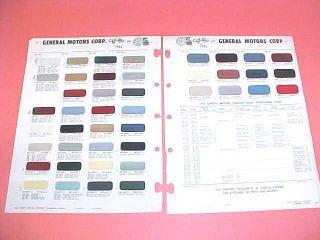 1965 Chevrolet GM Pontiac Color Chart Paint Chips 65
