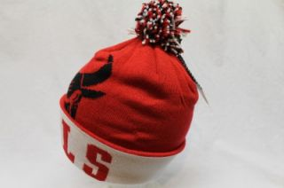 chicago bulls adidas knitted beani stocking hat cap red white cuff