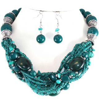 Chunky Teal Blue Silver Bead Twisted Earrings Necklace Set Costume