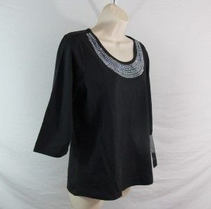 Christine Alexander Womens Swarovski Crystal Scoop Neck Shirt Size M