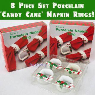 PORCELAIN Decorative CANDY CANE CHRISTMAS Napkin Rings Holders+BOX