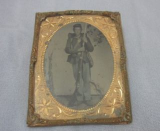 Civil War Tintype Armed Soldier Rifle Bayonet Very Young Man 1 4 Plate
