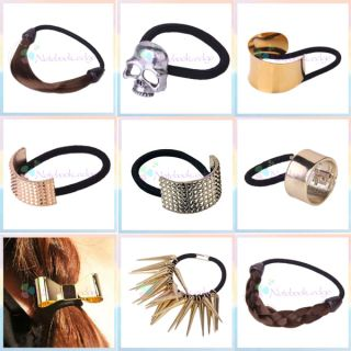 Personality Punk Skull Spike Circle Ring Bow Hair Band Ponytail Holder
