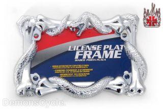 Chrome License Plate Frame Viper Cobra Snake Fit Harley