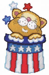 Design Works Plastic Canvas Kit Wall Decor 9 x 14 Patriotic Cat 2040
