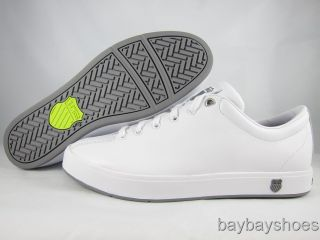 Swiss Clean Classic Low White Stingray Gray Neon Green Casual Mens