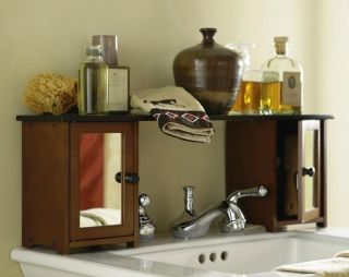 New Two Toned Wood Mirrored Bathroom Sink Shelf Cabinet Storage