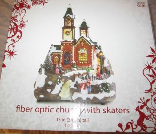 2006 Christmas Themed 15 Fiber Optic Church with Skaters