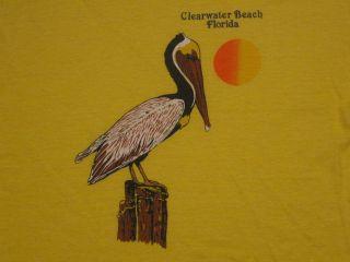 Vintage 80s Clearwater Beach Florida T Shirt Medium Pelican Surf Skate