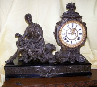 ANSONIA CINCINNATUS STATUE FIGURAL ANTIQUE CLOCK