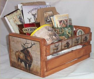 Hunters Gift Basket Cabin Wood Crate Gift Mug Coffee Chocolate Nuts