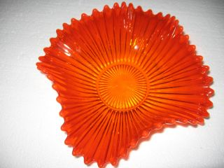 Red Orange Ruffeled Edge Wave Pattern Candy Dish Beautiful From Poland