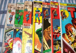 Reader Lot of 7 CAPTAIN AMERICA THOR Comics from 1971 to 1973 Avengers