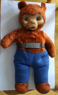 Vintage Smokey The Bear Rubber Faced Glass Eyes Ideal Co with Label