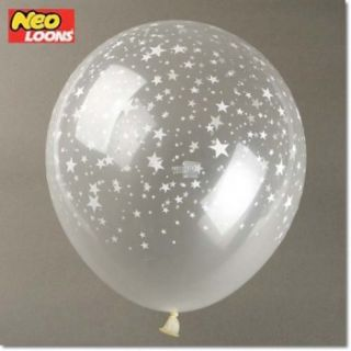 SET 10 / 10X 12 30CM ROSES / STARS Diamond clear latex balloons BULK