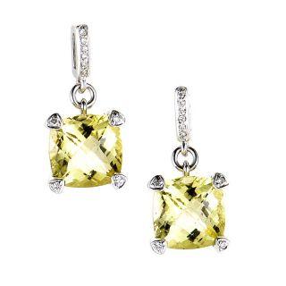 18K White Gold Lemon Citrine Diamond Drop Earrings