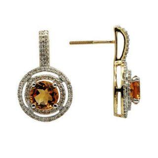14k Yellow Gold Pave Diamond Citrine Dangle Earrings