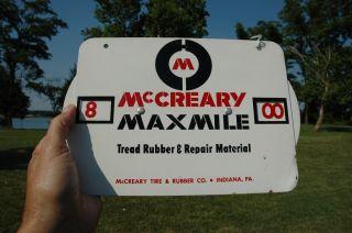 Vintage McCreary Maxmile Car Truck Auto Tire Gauge Sign N Mint