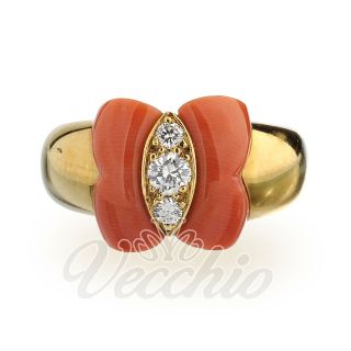 VCA Van Cleef Arpels Butterfly Coral and Diamonds 18K Yellow Gold Ring