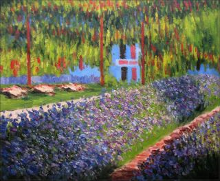 Hand Painted Oil Painting Repro Claude Monet Garden Giverny