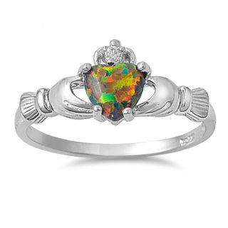 Sterling Silver Claddagh Black Opal Ring Size 4 Heart Irish Girls Fire