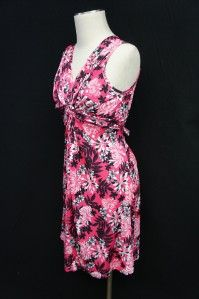 Claudia Richards Black Pink White Floral Design Sleeveless Dress Sz S