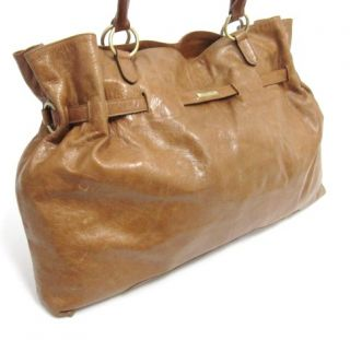 Claudio Ferrio Brown Leather Handbag Tote Laptop Sleeve