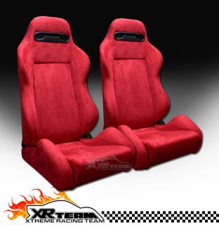 2pc T R Type Simulated Suede Red Sport Racing Bucket Seats Sliders