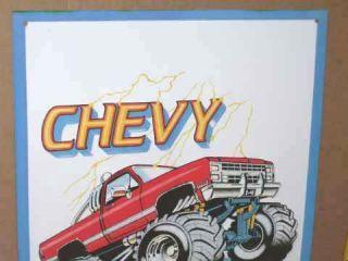 TRUCKS 4X4 Chevy Chevrolet PICK UP TRUCK Hill Climbing BIG TIRE Sign