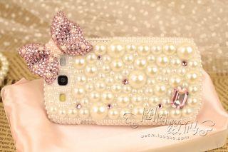 Handmade Cute Bowknot Pearl Diamond Crystal Case for Samsung Galaxy S3
