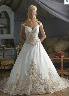 Christina Wu 5518 Size 16 Ivory Gold Formal Bridal Gown Wedding Dress