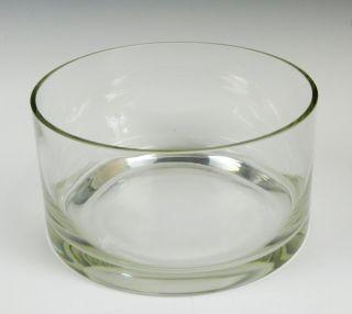 LARGE ROUND CYLINDER CLEAR GLASS CRYSTAL CENTERPIECE VASE SERVING BOWL