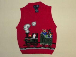 CLASS CLUB BOYS CHRISTMAS SWEATER VEST Sz 3 3T *RED SANTA HOLIDAY
